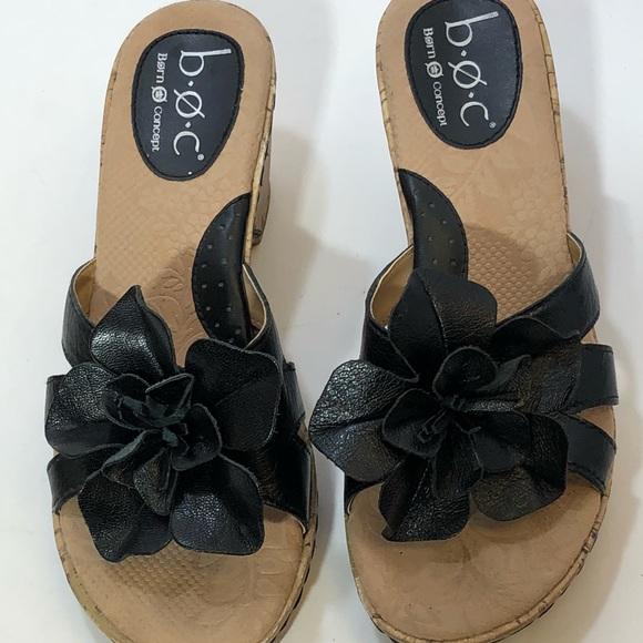 4370ef803d4a BOC Born Concept black flower leather wedges SZ 7